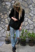 blue jeans - black Vero Moda blouse - gold Mango vest - brown purse