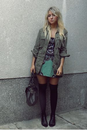 black stockings - black purse - green dress - green jacket