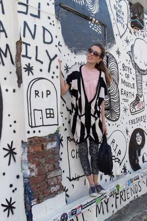 white knit selected female cardigan - black bumbag Yvonne Koné bag