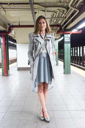 sky blue trench coat Zara jacket - light blue chiffon H&M dress