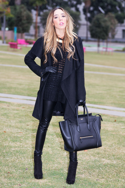 black Celine bag - black HAUTE & REBELLIOUS coat