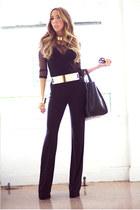 black HAUTE & REBELLIOUS jumper - gold HAUTE & REBELLIOUS belt