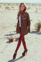 olive green HAUTE & REBELLIOUS jacket - maroon HAUTE & REBELLIOUS leggings