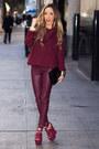 Maroon-sweater-h-m-sweater-maroon-haute-rebellious-leggings