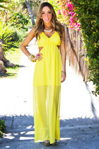 yellow cutout HAUTE & REBELLIOUS dress
