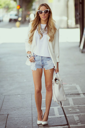 white white Zara bag - cream fitted HAUTE & REBELLIOUS blazer