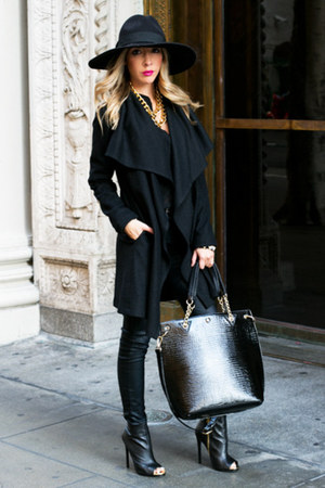 black bensimon coat HAUTE & REBELLIOUS coat - HAUTE & REBELLIOUS boots