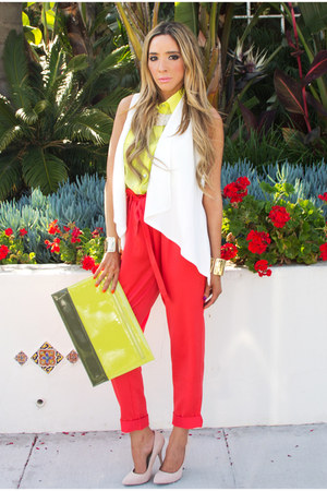 red HAUTE & REBELLIOUS pants - off white HAUTE & REBELLIOUS shoes