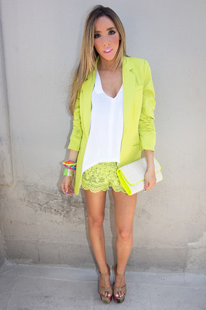 lime green HAUTE & REBELLIOUS blazer - lime green HAUTE & REBELLIOUS shorts