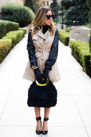 tan leather sleeve HAUTE & REBELLIOUS coat