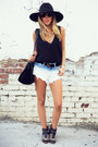 black studded Zara boots - black boho HAUTE & REBELLIOUS hat