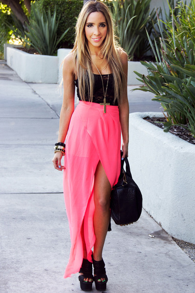 hot pink neon chiffon HAUTE & REBELLIOUS skirt