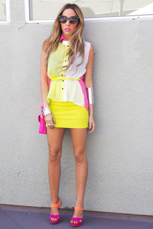 light yellow HAUTE & REBELLIOUS blouse - hot pink HAUTE & REBELLIOUS bag