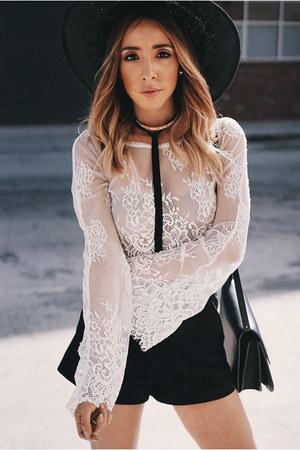 wide brim HAUTE & REBELLIOUS hat - bag Celine bag - high waisted H&M shorts