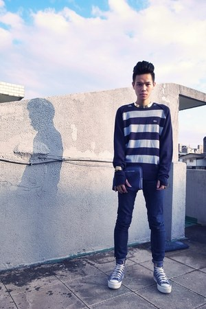 navy Lacoste vintage jumper - violet Converse shoes - navy Cheap Monday jeans
