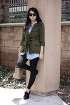 green jacket - black leggings - beige bag - sky blue blouse - black heels