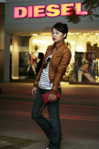 blue jeans - bronze jacket - red bag - white top