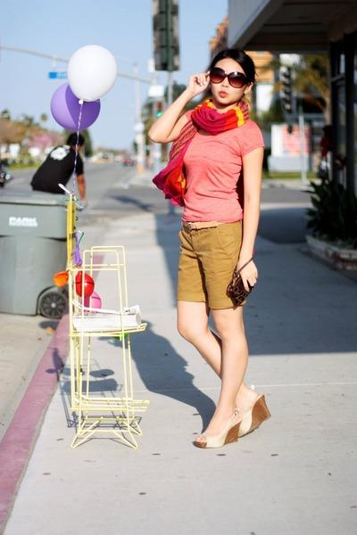beige wedges - salmon shirt - hot pink scarf - dark brown purse - bronze shorts