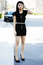 black shoes - black dress - beige belt - silver necklace