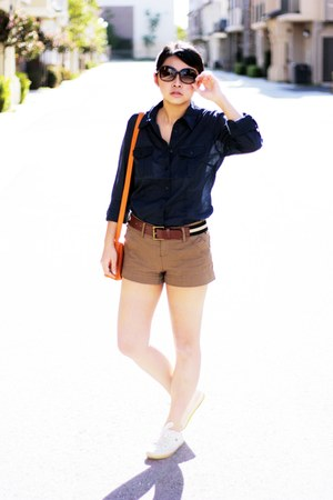 navy shirt - ivory shoes - carrot orange bag - dark khaki shorts