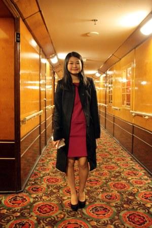 magenta dress - black coat - silver purse - black heels - ivory accessories