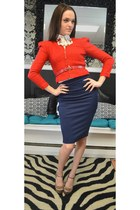 red Heiress blazer - navy Heiress skirt