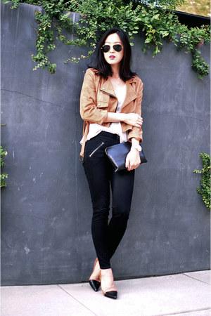 gold dainty Gjenmi necklace - black skinny skinny madewell jeans