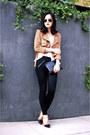Black-skinny-skinny-madewell-jeans-brown-suede-fringe-missguided-jacket