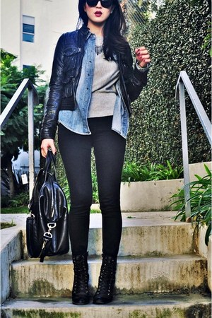 black jeggings Current Elliot jeans - black leather jacket