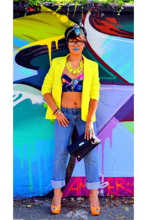 boyfriend jeans Gap jeans - neon yellow Forever21 blazer - tie dye asos top