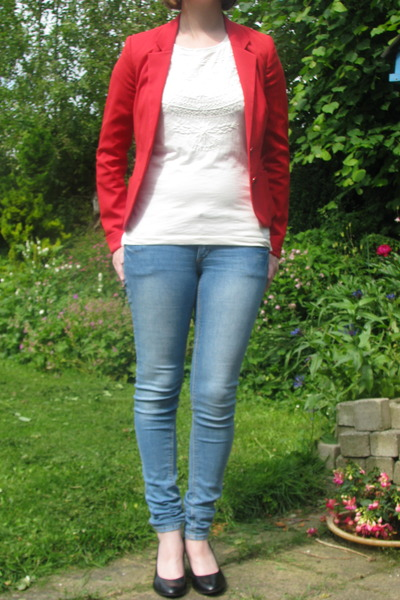 red red blazer H & M blazer - blue skinny jeans H & M jeans