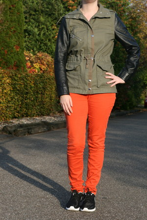 orange orange pants H & M pants - olive green H & M coat