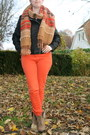 Ankle-boots-h-m-boots-biker-jacket-c-a-jacket-brown-scarf-h-m-scarf
