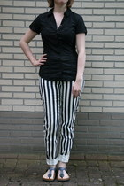 black blouse C & A blouse - white striped pants H & M pants