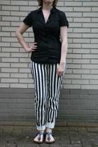 black blouse C & A blouse - white striped pants H & M pants