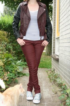 crimson biker jacket H & M jacket - maroon purple jeans H & M jeans