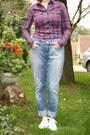 Sky-blue-boyfriend-jeans-h-m-jeans-red-plaid-blouse-c-a-blouse