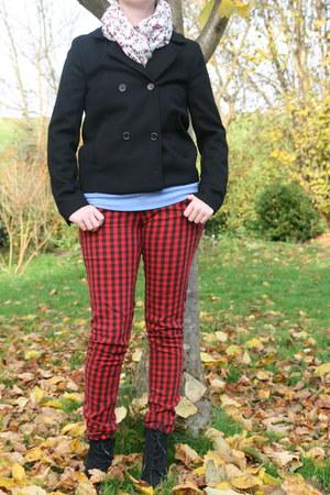 black van haren boots - black H & M coat - red H & M jeans