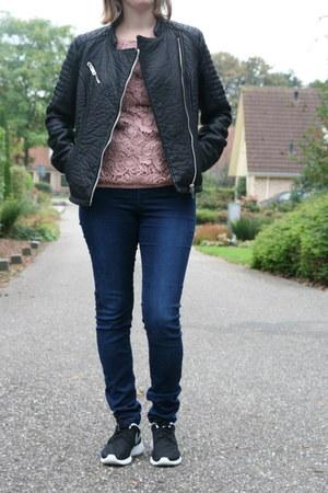 black biker jacket C & A jacket - light pink lace t-shirt C & A t-shirt