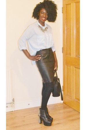 H&M shirt - Jeffrey Campbell boots - H&M skirt - Zara necklace