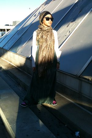 green dress - black Nike Jordans shoes - vintage scarf - le sport sunglasses