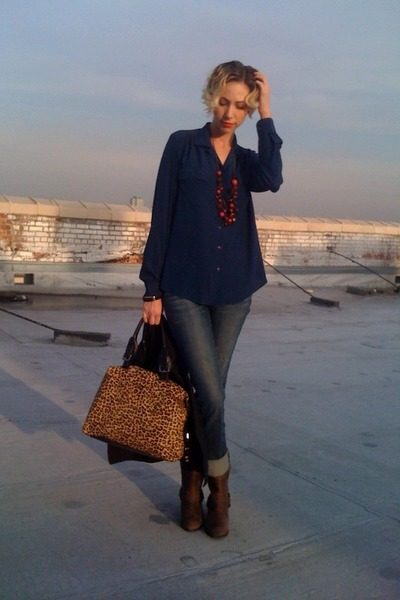 brown Target boots - blue jeans - navy thrifted blouse - ruby red Nordstrom Rack