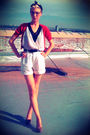 White-thrifted-shorts-silver-common-era-blouse-red-target-cardigan-black-t