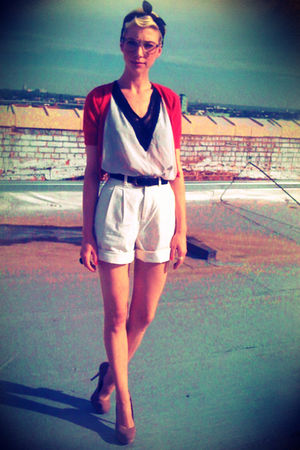white thrifted shorts - silver common era blouse - red Target cardigan - black t