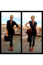 black Forever21 blouse - blue Forever21 jeans - red seychelles shirt - brown thr