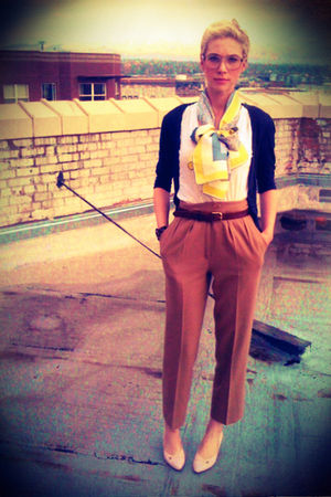 yellow vintage vera thrifted scarf - pink kitten heel thrifted shoes