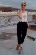 black thrifted pants - white Forever 21 blouse - black thrifted belt - beige Ste