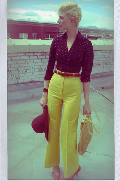 yellow thrifted pants - pink high-heeled Payless shoes