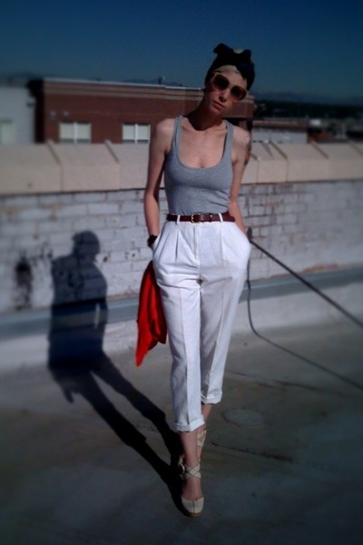 white thrifted pants - gray Target top - brown thrifted belt - blue the thing th