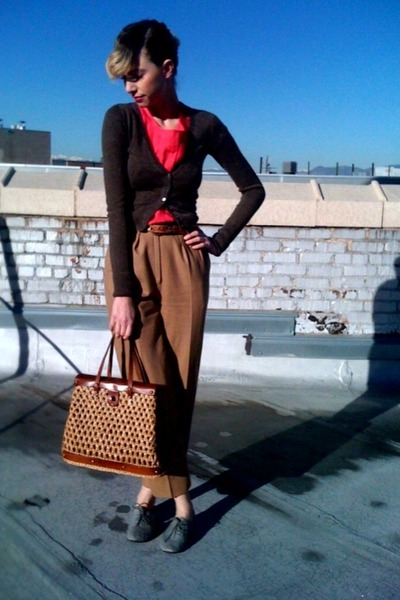 tan rattan thrifted bag - light brown cropped thrifted cardigan - hot pink silk